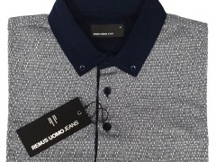 Remus Uomo Tapered Polo Navy Colar