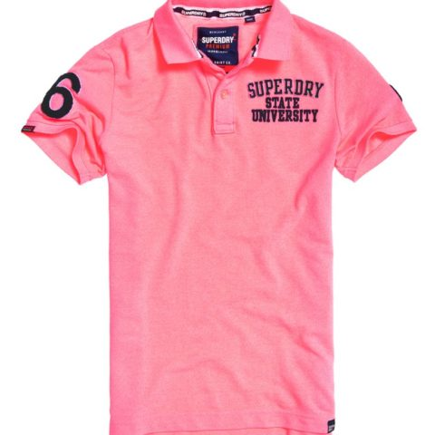 Superdry men's Classic Superstate pique polo shirt. Made with cotton, this polo shirt features duo button fastening, an embroidered Superdry logo design on the chest and applique logo detailing on both sleeves